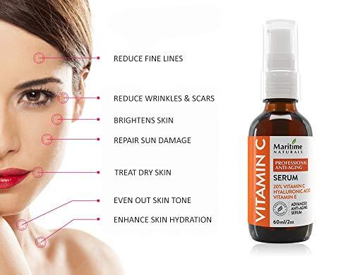 28dea5a52675 Canada's Premium 60ml 20% Vitamin C Serum with 11% Hyaluronic Acid &  Vitamin E Moisturizer - Organic Face Topical Serum - Anti Aging, Anti  Wrinkle, ...