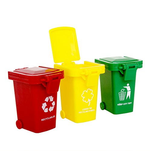 (Original Color Trash Can Toy,Garbage Truck's Trash Cans, Mini Curbside Vehicle Garbage Bin Trashcan Great for Kids Toddlers)
