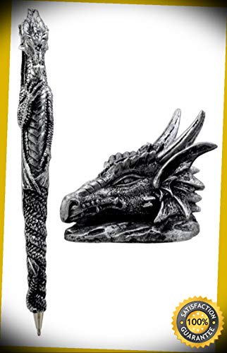 KARPP Ink of Fire Spirit Dragon Pen with Dragon Head Base Holder Figurine Office Desk Perfect Indoor Collectible Figurines ()