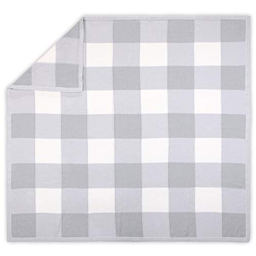 Farmhouse Large Grey and White Check Baby Blanket - Rustic Chic 100% Cotton Sweater Knit
