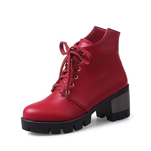 AgooLar Women's Kitten-Heels Soft Material Low-top Solid Lace-up Boots Red 8XbbLLG