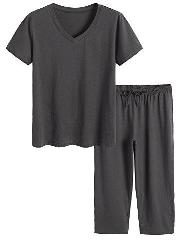 Latuza Women's Cotton Pajamas Set Tops and Capri Pants Sleepwear 2X Gray