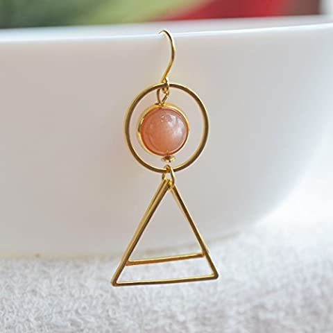 a Pair Sunstone Natural Stone Birthstone Solitaire Round Triangle Geometry Long Gold Plated Drop (The Birth Of Korean Cool)
