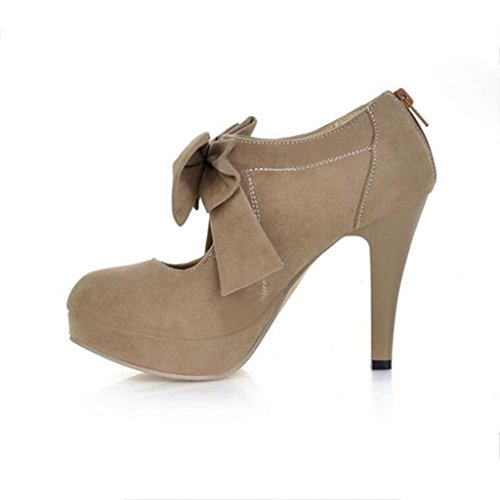 W&LM Sra Tacones altos Boca rasa Zapatos individuales Corbata Plataforma a prueba de agua Cremallera Tacones altos Gray