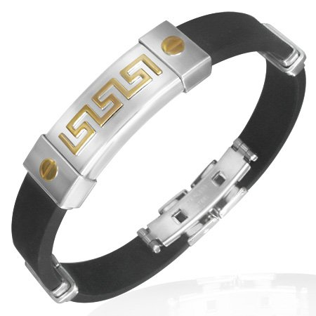 Stainless Steel Black Rubber Silicone Gold Silver Two-Tone Greek Key Mens (Two Tone Gold Greek Key)