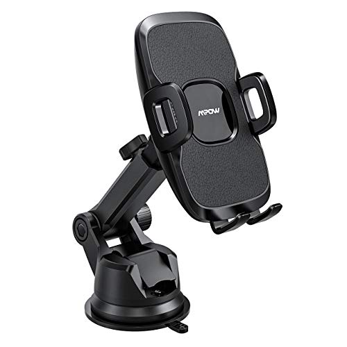 Mpow 104 Dashboard Car Phone Mount, Windshield Car Phone Holder, 2 Suction Levels, Washable Gel Pad Compatible iPhone XR,XS Max,X,8,7, Galaxy S10,S9,S8,S7,S6, Google, One Plus, Moto, and More, ()
