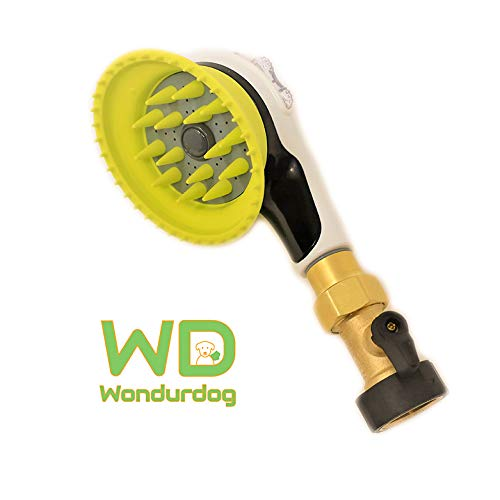 Wondurdog Quality Outdoor Dog Shower with All Metal Adapter and Shut Off Valve | Attaches to Standard Garden Hose ()