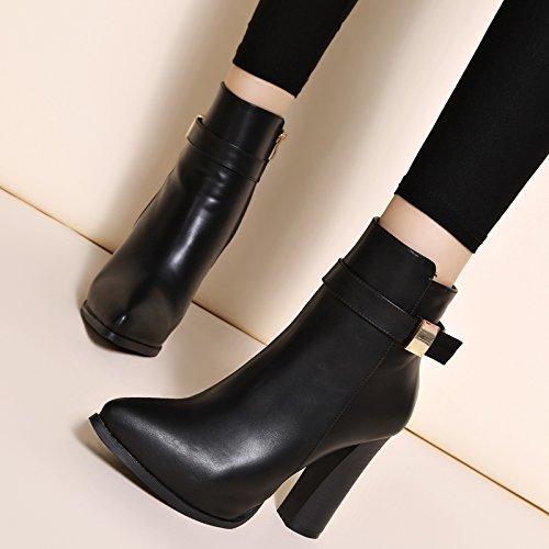 khskx-new invierno botas y Rough tacones botas Fashion hembra Martin señaló desnuda botas y zapatos de algodón y zapatos negro