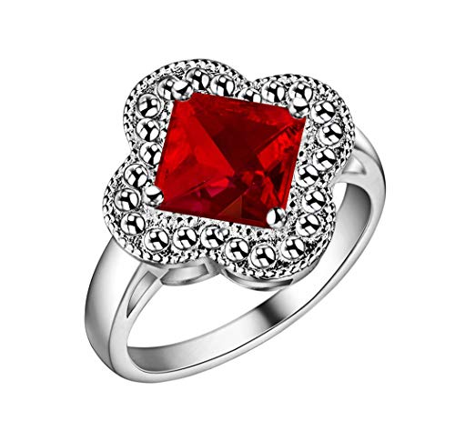 Guraxi Women Four-Leaf Clover Crystal Stainless Steel Rings,Red,Size 7 ()