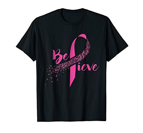 - Mens Breast Cancer Awareness - Inspirational Believe T-shirt 2XL Black