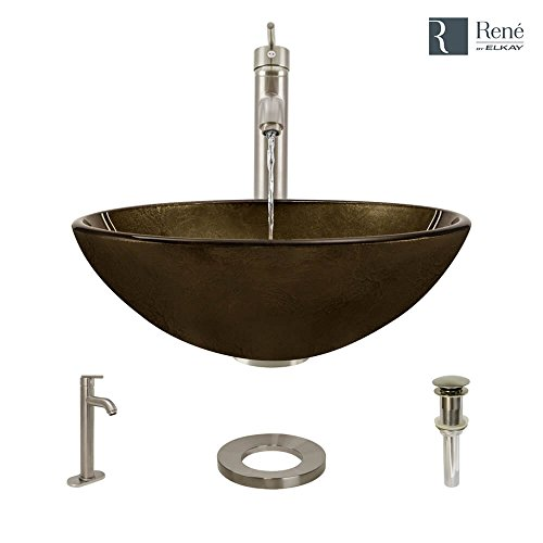 R5-5035-R9-7001-BN Foil Undertone Glass Vessel Sink with Brushed Nickel Vessel Faucet, Sink Ring, and Vessel Pop-Up Drain