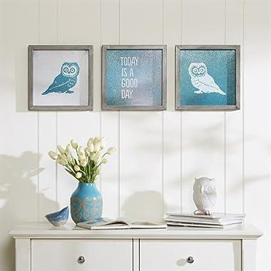 Olliix WA95B-0002 Coat 3 Piece Wise As an Owl Framed Gel Set