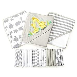 Spasilk Baby 23 Piece Bath Hooded Towels and Washcloths Set for Newborn Boys and Girls