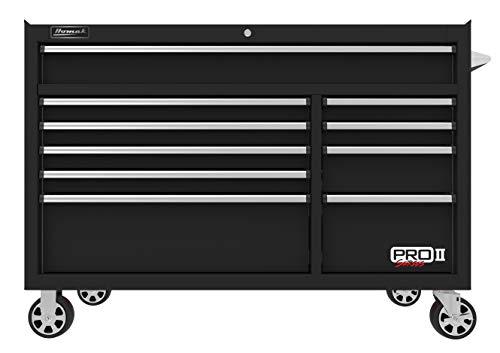 "Chest Professional Storage Tool Series (Homak PRO II Series 54"" 10-Drawer Roller Cabinet, Black, BK04054012)"