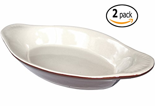 Ceramic Oval Rarebit / Au Gratin Baking Dish with Dish-pan Scraper, 15 Ounce, Set of 2, Brown and Bone White (Individual Oval Baking Dishes)