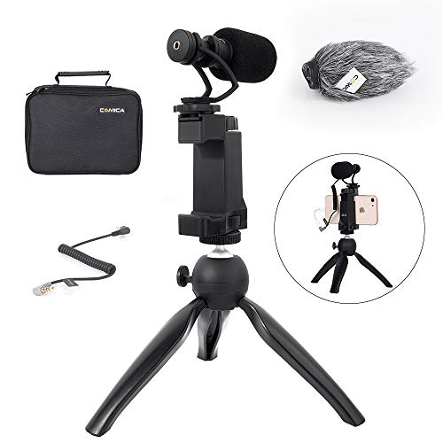 (Comica Smartphone Video Rig Kit CVM-VM10-K2 Mini Tripod with Cardioid Directional Shotgun Video Microphone for iPhone 7 8 Plus XS max XR,Samsung S9 S10,LG Android Phones etc.(1/4
