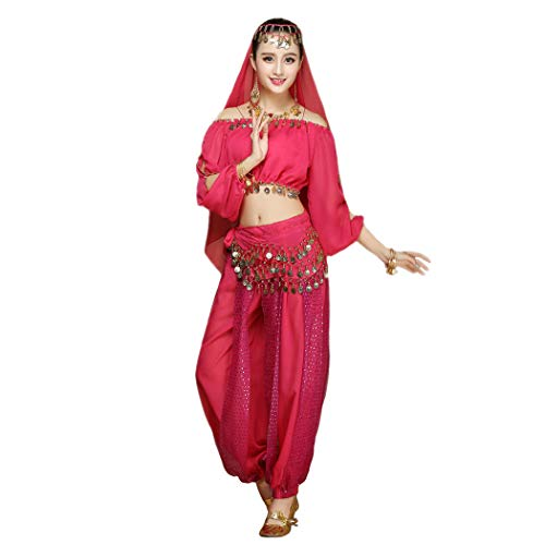 Maylong Women's Long Sleeve Belly Dancing Outfit Halloween Costume DW17 (hot Pink)