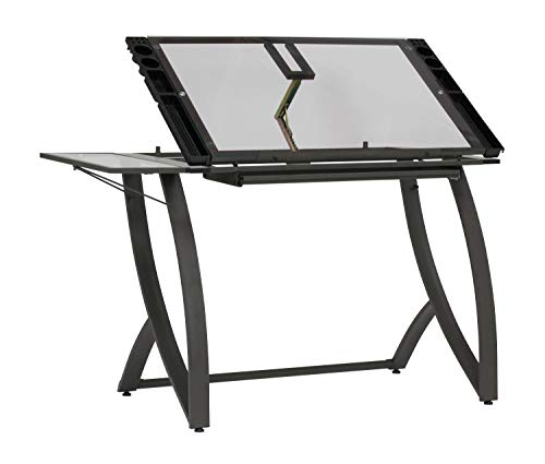 Offex Drawing Craft Table with Drawer and Folding Side Shelf - Pewter Grey