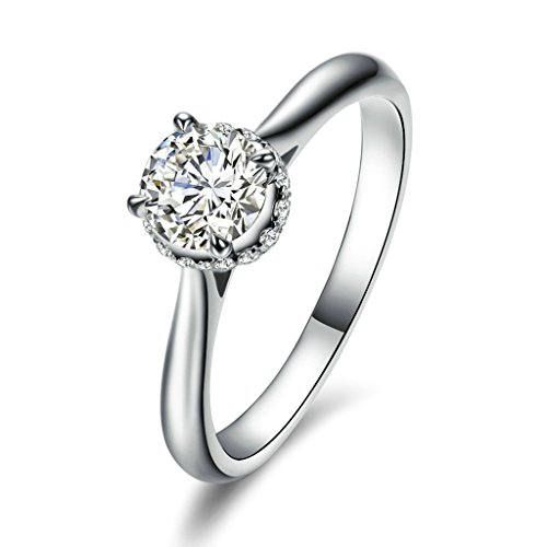 KnBoB Engagement Ring for Women Big Drills Inlayed 4 Claws Round Silver Ring Size (International Silver Golden Tiara)