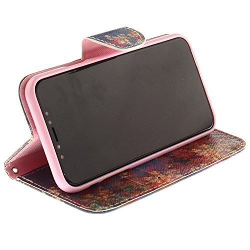 iPhone X Hülle Laubbäume PU Leder Wallet Handytasche Flip Etui Schutz Tasche mit Integrierten Card Kartensteckplätzen und Ständer Funktion Für Apple iPhone X / iPhone 10 (2017) 5.8 Zoll + Zwei Geschen
