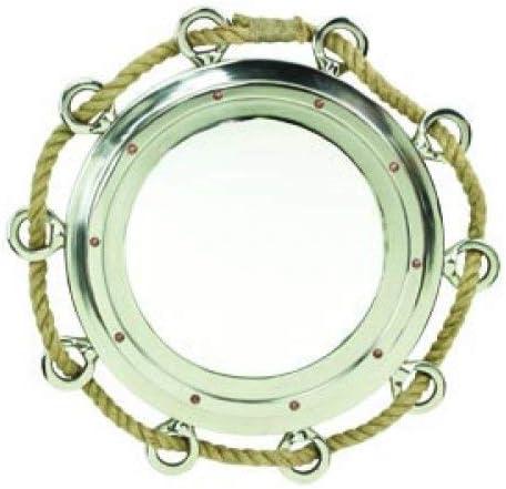 Roped Porthole Mirror 23.5 Diameter Aluminum