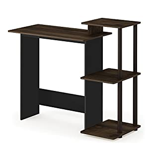 FURINNO 11192CWN/BR Efficient Home Computer Desk with Shelves, Square Side, Columbia Walnut/Brown