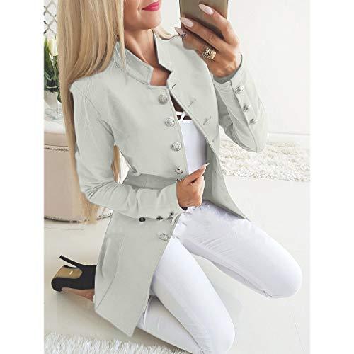 lavoro Mymyguoe autunno Fit con Office Office Blazer da grigio Slim Office Giacca Primavera Cappotto a Donna Risvolto maniche lunghe 0y8nmNvwO