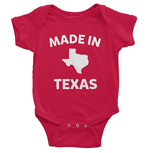 Made In Texas - 002 - Funny Texas Baby Infant Onesie One Piece - Red (In Baby Onesie Texas Made)