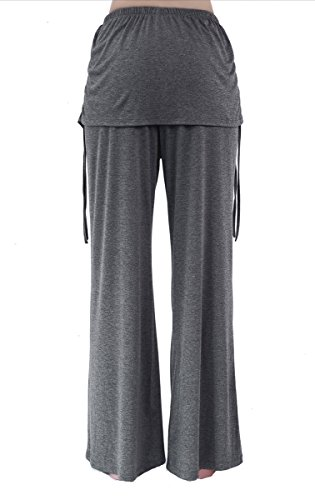 Pantalones de doble capa Ropa de running para mujeres Skirted Long Stretch Yoga Pantalones gris