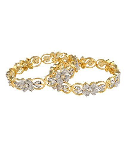 M Creation Gold Plated Bangle Set For Women , BG456(Pack Of 2)