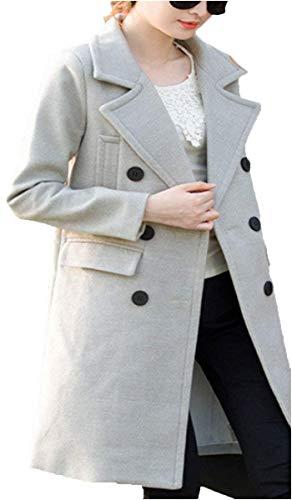 Femme Manteau De Transition Elgante Automne Hiver Long Manches Longues Manteau De Laine Baggy Costume Fashion Double Boutonnage Revers Woll Veste Manteau Outerwear Grau