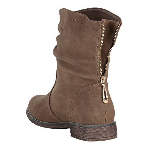 Berkley Zipper Stiefel Schlupfstiefel Leicht Stiefelparadies Stiefeletten Flandell Khaki Schuhe Damen Gefütterte OZvqxUptwx