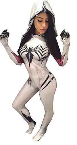 Gwen Stacy Cosplay Costume Suit w/Hood, Mask, Lenses   Gwen Stacy Venom Spiderman Cosplay (Large, Venom)