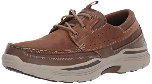 Skechers Men's EXPENDED-MENSON Leather LACE UP Boat Shoe, DSCH, 12 Medium US