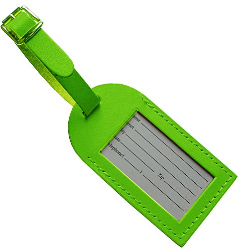 DeLuxe Standard Leather Luggage Tag (Lime Green)