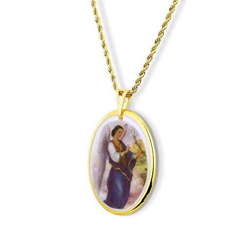 Pingente Medalha Anjo Gabriel Ouro Grande