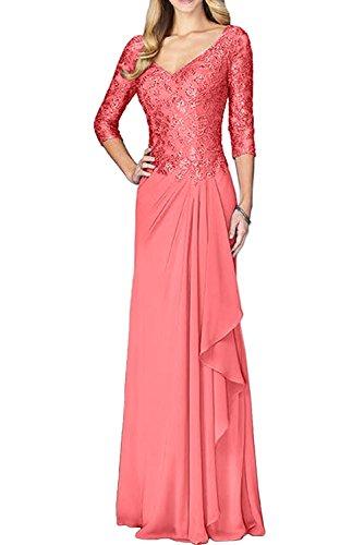 Festlichkleider Linie Spitze Abendkleider A Elegant Marie Brautmutterkleider Langarm Chiffon La Braut Wassermelon Rock qUScWZ