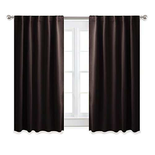 PONY DANCE Bedroom Blackout Curtains - Window Draperies Energy Efficient Thermal Insulated Back Tab/Rod Pocket Curtain Panels/Window Treatments Kitchen, 42
