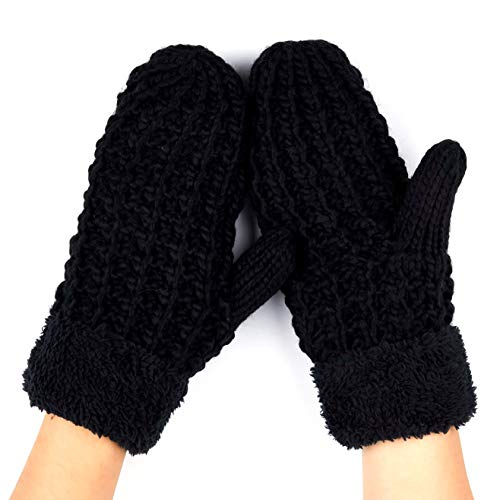 lusives Women Thick Knit Faux Fur Sherpa Fleece Lined Warm Winter Gloves Mittens (Black) ()