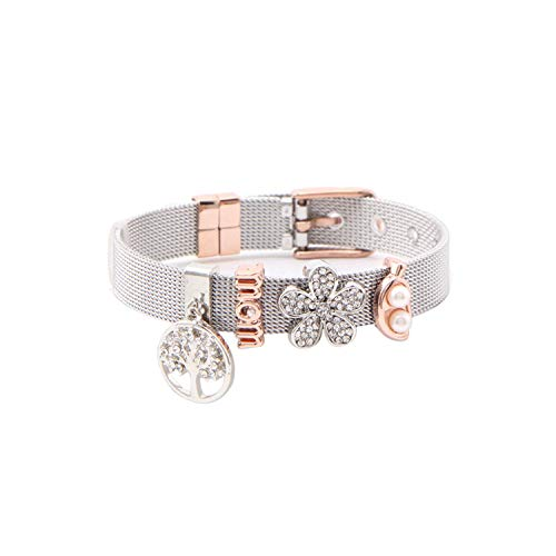Mesh Stainless Steel Keychain - Encounter_meet Jewelry Keeper Stainless Steel Mesh Bracelet with 4pcs Slide Charms Silver Rose Gold Wrap Bracelets,4,22cm