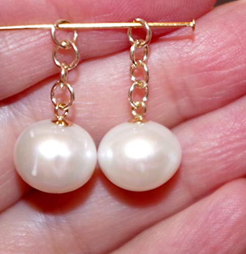 GORGEOUS 14K 12 X 10 MM CULTURED CHAMPAGNE SEMI ROUND PEARL EARRINGS JACKETS
