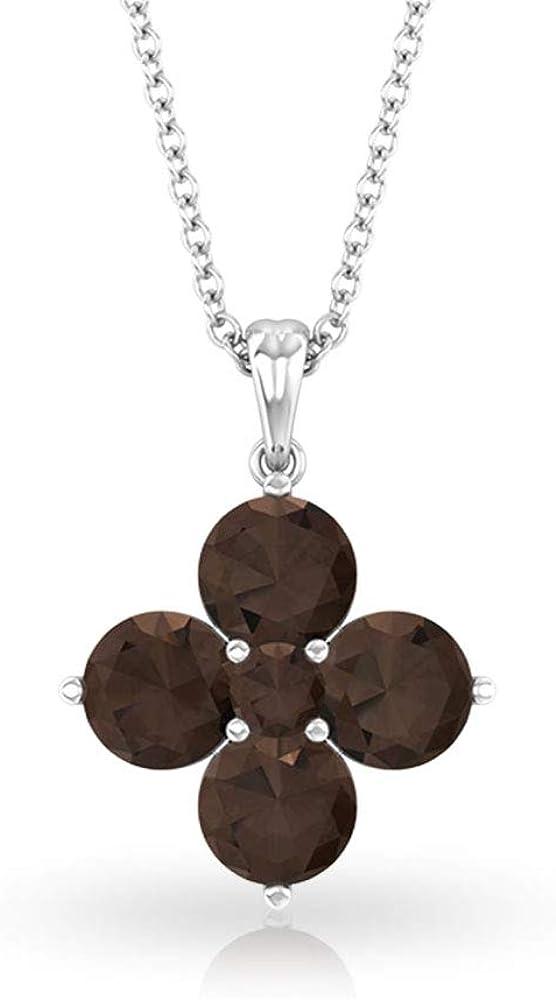 Colgante de flor de trébol de cuarzo ahumado de 1,69 quilates, collar de piedra preciosa marrón para boda, collar de novia, colgante apilable para madre e hija, regalo para ella