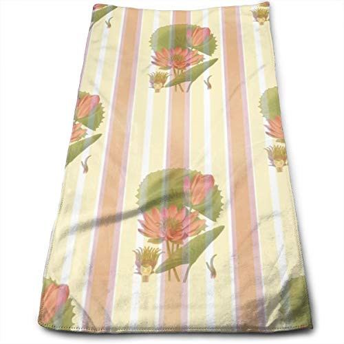 Sconce Wall Lily Custom - SWATMOGI Lotus Flower Waterlily Wallpaper Wall Covering Face Towel,Hand Towel,Kitchen Towels-Dish 3D Design Pattern Towel,Towels for The Kitchen,Cleaning,Cooking,Baking,Dishwashing Towel 12x27.5in
