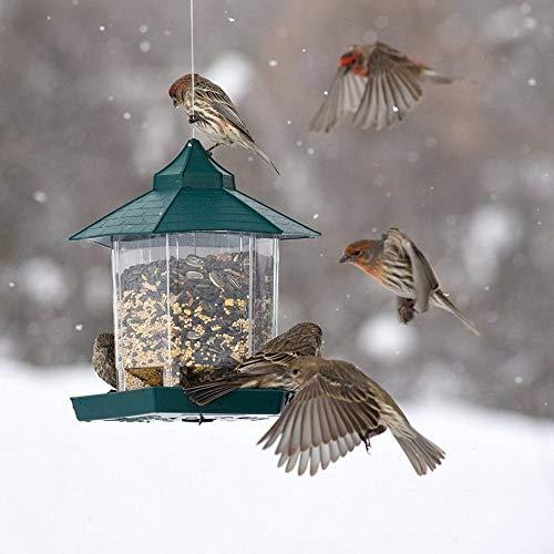 Fly Through Gazebo Feeder - Bird Feeding - Practical Plastic Hexagonal-Shape Bird Feeder Transparent Window Viewing Hanging Bird Feeder Table Seed Peanut Hanging Gazebo - by GTIN - 1 Pcs