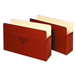 Globe-Weis Accordion Redrope Pocket, Legal, 5 1/4 Inch Expansion, Box of 10 Folders, Brown (1536G)