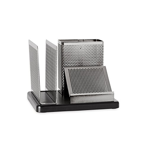 - Rolodex Punched Metal and Wood Desk Organizer, Black and Gunmetal (E23552)