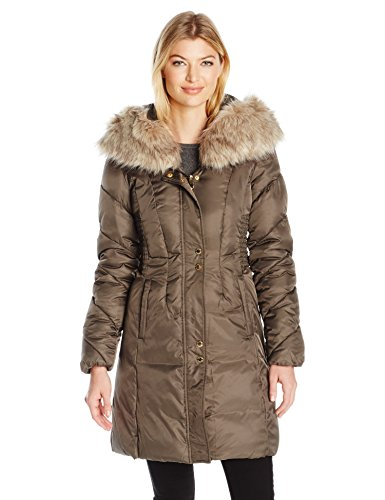 (Via Spiga Women's Faux Fur Trimmed Exaggerated Hood Cinched Waist Puffer Coat, Pecan Shell, X-Small)