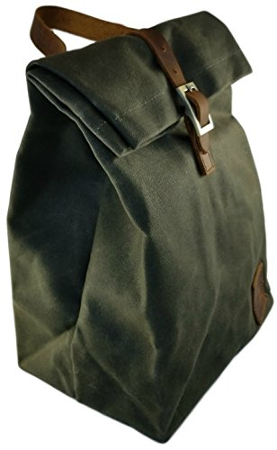 Reusable Thermal Insulated Lunch Bag with handle - Waxed Canvas - Waterproof (Green)