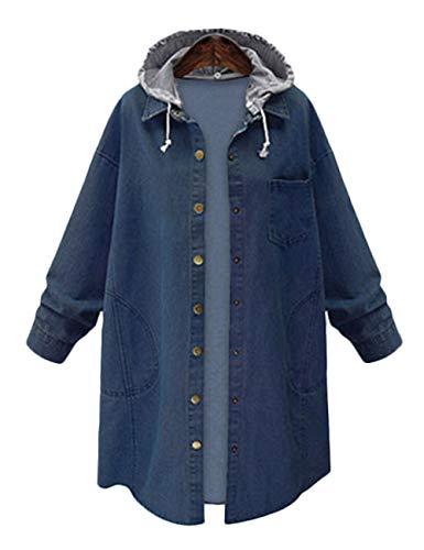 Innifer Women's Casual Long Denim Coat with Hood Long Sleeve Windbreaker Plus Size Jean Jacket Outwear by Innifer (Image #4)