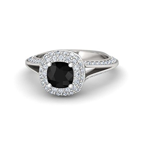 Womens Jewelry 14k Gold Plated Alloy 6MM Cushion Cut Created Black CZ & White Cubic Zirconia Ariel Princess Ring Engagement & Wedding Ring